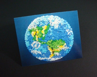 """Dotted Planet Earth - Small Greeting Art Card 4.25"""" X 5.5"""" - NASA Contest Finalist - Celestial Collection DDOTS"""