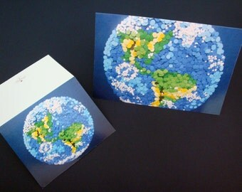 Set of Two Greeting Art Cards - Dotted Planet Earth - Professionally Printed - NASA Space Exploration 2D Etsy & NASA Contest Finalist DDOTS