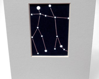 Gemini - Unframed Matted Aceo Asterism - Shadow Constellations Window Sun Catcher - Celestial Collection DDOTS
