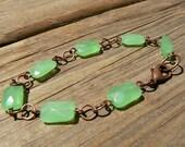 RESERVED - Bright Mint Green on Copper Bracelet