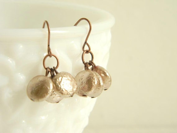 Champagne Pearls and Copper Earrings