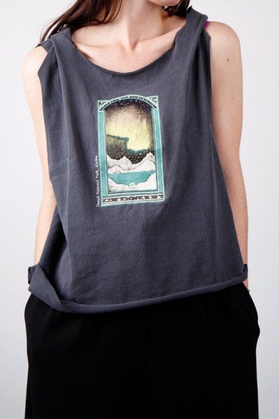 ALASKA aurora borealis washed tee shirt