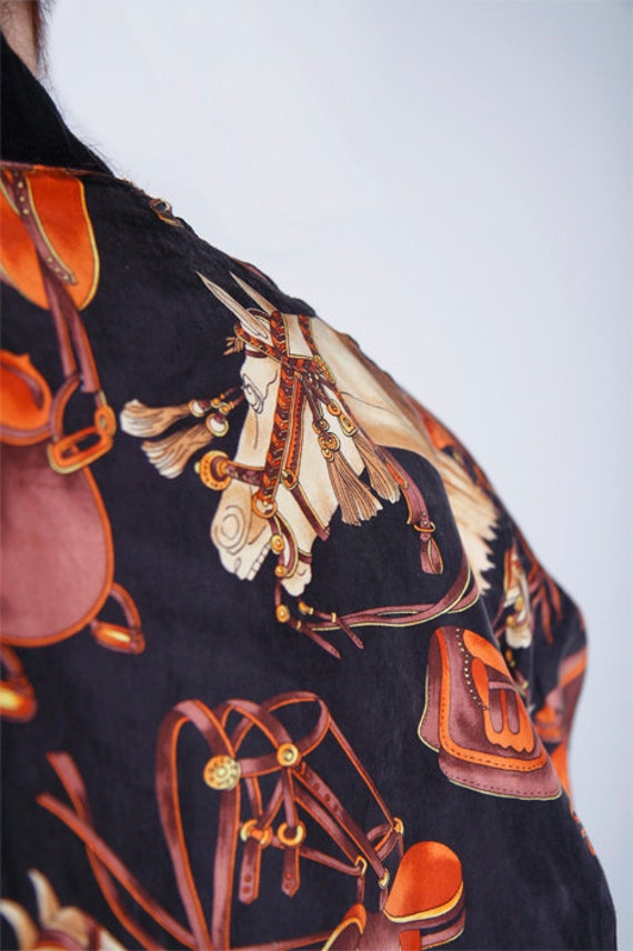 EQUESTRIAN Silk printed 80's bomber jacket  for petite ME
