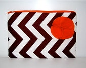 Bridesmaids Gift Wedding Clutch Purse Wallet Fall Fashion Bag - Maroon and White Chevron