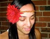 Red Flower Headband Bridal - Boho Chic Summer Fashion