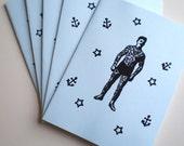 5x Tattooed Sideshow Moustache Man Cards w envelopes