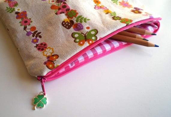 Mushroom Ladybug Shamrock Pouch / Pencil Case / Make-up Bag