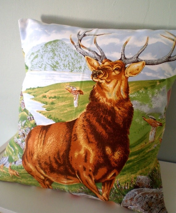 OOAK Stag deer Cushion / Pillow cover Upcycled Teatowel