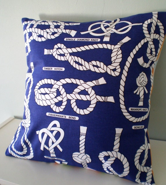 OOAK Nautical Cushion / Pillow cover Upcycled Teatowel
