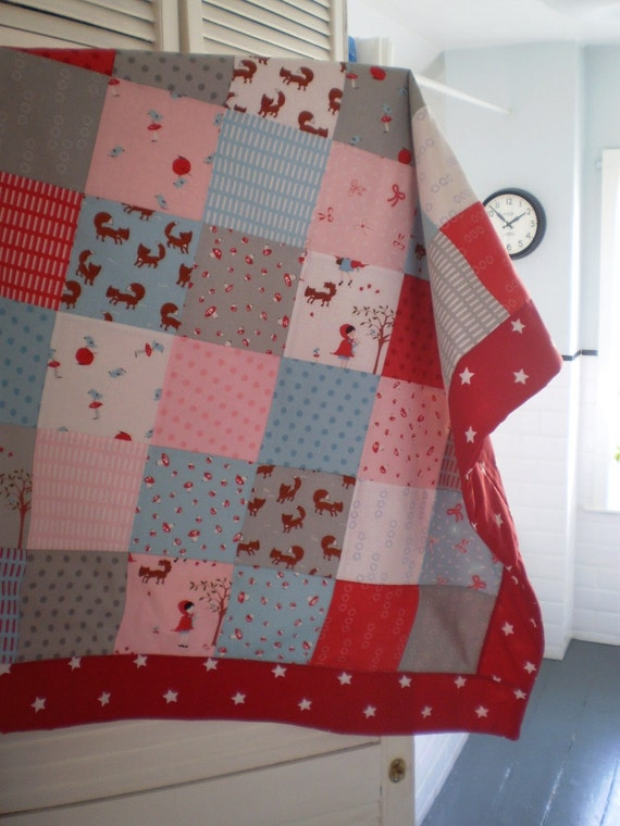 Lg Patchwork Quilt Walk in the Woods