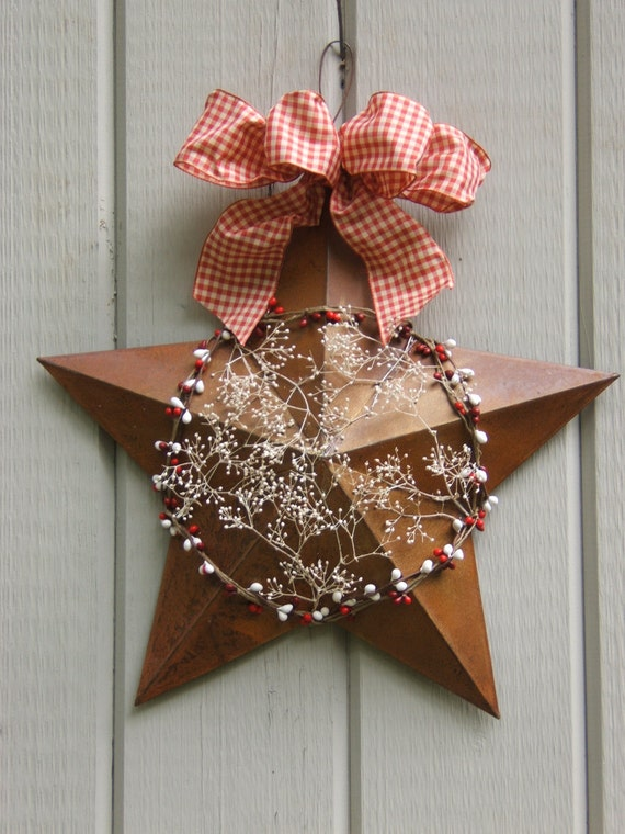 Star wreath country shabby chic vintage fall christmas for Country chic christmas