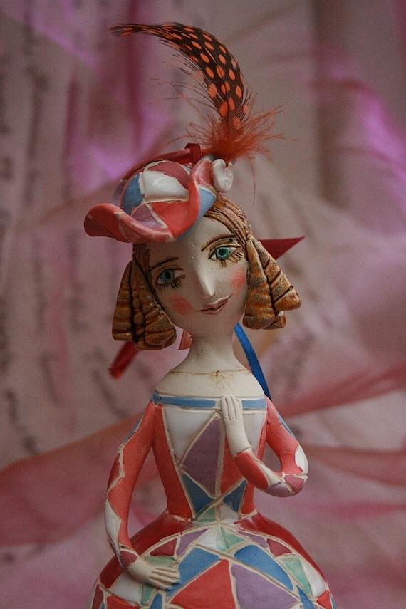 Carnival beauty. Ceramic bell, sculpture.