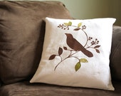 White Canvas Pillow Cover Brown Bird on Tree Branch