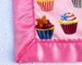 Blanket with Cupcake Print and White Plush Minkee Dot reserved for rosieluvskaylee