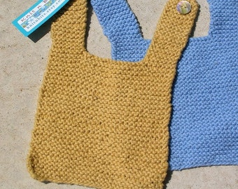 Yellow and Blue Cotton Handknit Baby Bibs