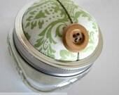 Sage Damask and Wood Pincushion. Storage Jar