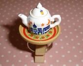 Ultra Kawaii Destash Sleepy Time Tea Kettle on Platter Adjustable Ring