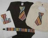 Tie Baby gift set - Custom Monogrammed Tie Onesie--Burp Cloth-- Bib----Monogrammed Paci Clip