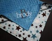 Baby Boy Minky Blanket Personalized Baby Blanket 36x30