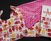 Custom Personalized / Monogrammed Blanket, Burp Cloth and Bib Gift Set by Brownies n Butterflies