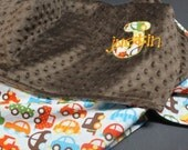 Personalized Baby Boy Blanket Cars 36x30 Transportation Orange and Chocolate