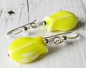 Yellow Tulip Earrings, Vintage German Glass Flowers in Sterling Silver - Yellow Dangles, Flower Earrings, Spring Jewelry, Easter Jewelry - SheBearDesigns