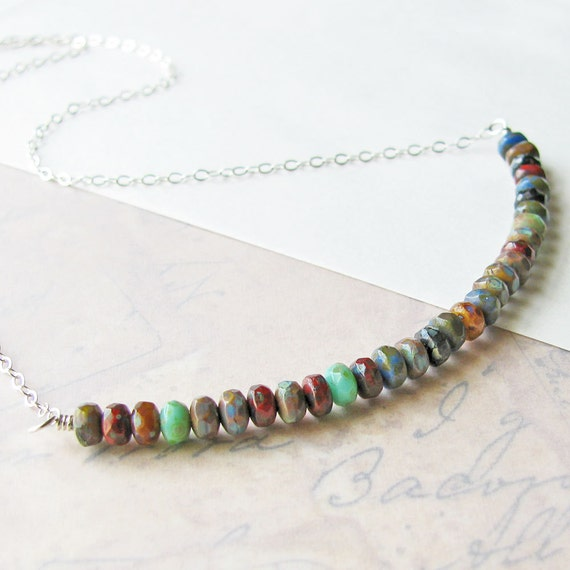 Multi Color Necklace, Tiny Czech Glass Rondelle Beads, Sterling Silver - Beaded Necklace, Colorful Necklace, Red, Blue, Green, Earth Tones