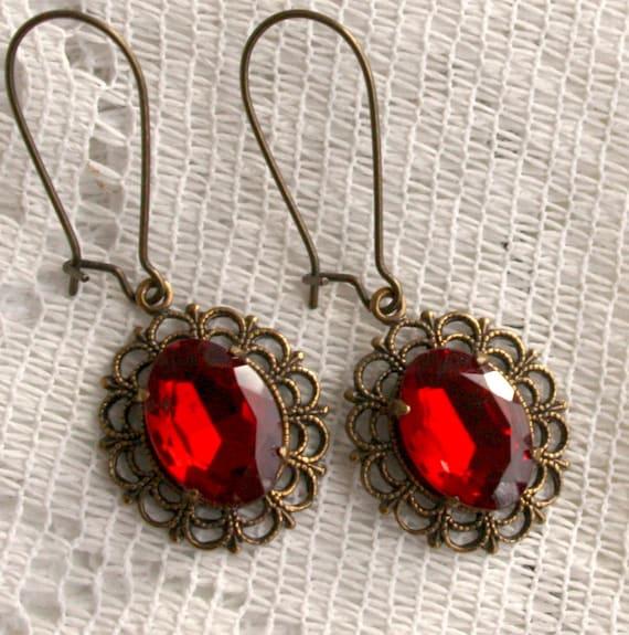 Ruby Lace Filigree Earrings - Romantic Vintage Style
