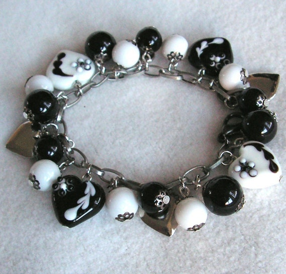 Black and White charm bracelet