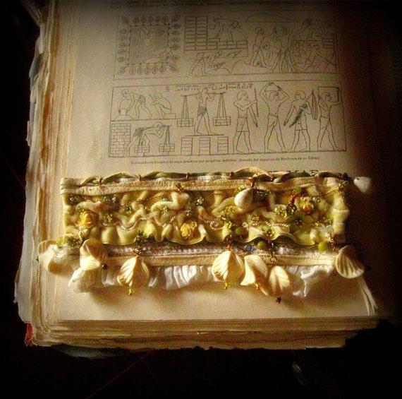 art cuff upcycled vintage spanish velvet The Buttercup Velvet Garden bracelet