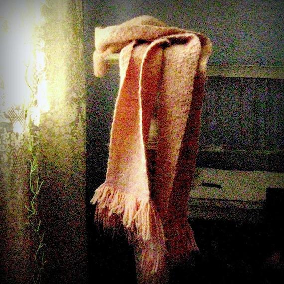 handwoven scarf Pink Blush organic wool neck wrap