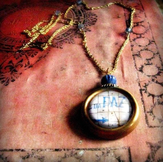 Paz peace pendant necklace portuguese tile image