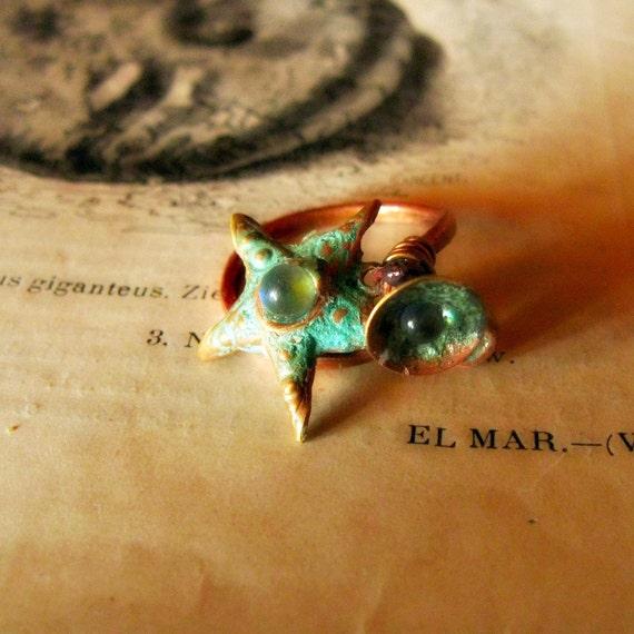 Sea Star ring aged patina upcycled vintage