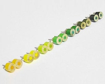 Color Pencil Ear Studs, The Yellow And Green Series Pencil Jewelry, Handmade In England By Huiyi Tan