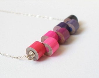 color pencil necklace, No.06, Pink and Purple, unique necklace with sterling silver, made to order