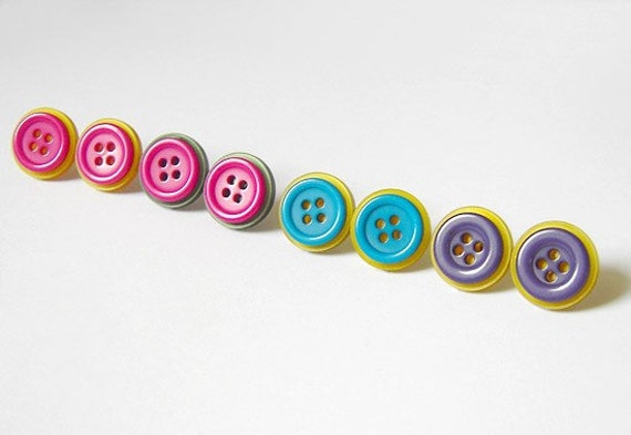 HAPPY BUTTON ear studs posts (Limited Edition), last 2 pairs
