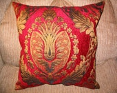 PILLOW SALE!!! New 14in square Old World Elegant Posh Ornate Damask OOAK Red and Gold Designer Decorator Throw Pillow
