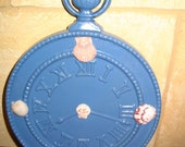Clock Metal Shell Vintage Shabby Chic Coastal Cottage Wildflower Blue