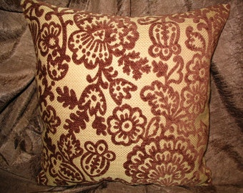 Throw Pillow PILLOW SALE!!  New 14in square OOAK Avacodo Green and Chocolate Brown Floral Toile Flocked Modern Chic Trendy Decorator