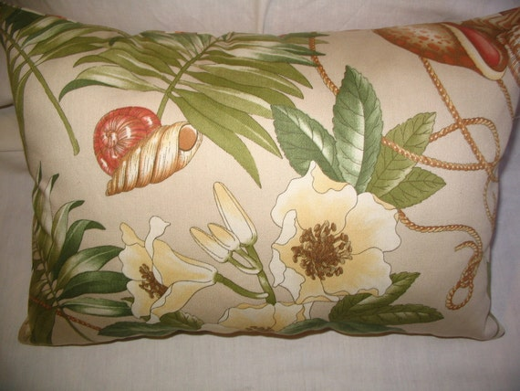 Throw Pillow PILLOW SALE!! 40% Off Shabby Chic Coastal Cottage Palm Green Salmon Pink Sea Shells Floral Decorator Custom