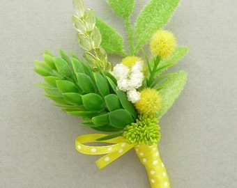 Boutonniere - Spring green and yellow