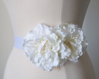 Bridal dress sash - Double peony flower
