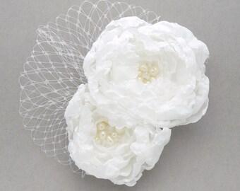 Large flower bridal hair fascinator, hair clip - Evelyn