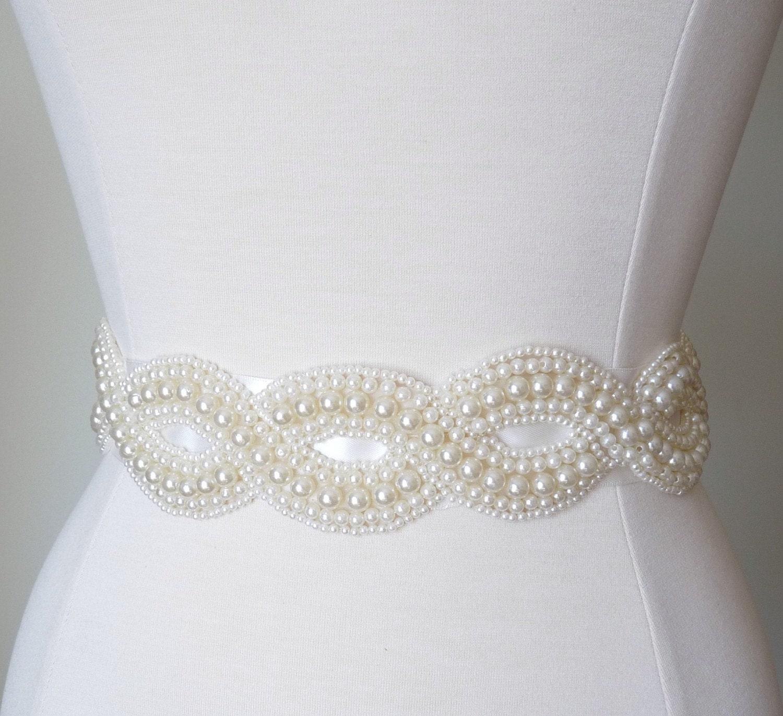 infinity pearl bridal dress sash