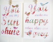 PINK You Are My Sunshine You Make Me Happy When Skies Are Grey Print SET