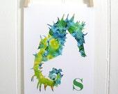 Nursery Art Print - childrens print -  nursery wall art - Seahorse green blue