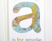 Nursery art - name print - any Letter Vintage Map Style
