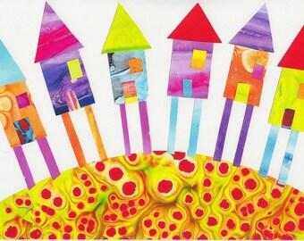 Children Decor Nursery Art Print ( Houses)