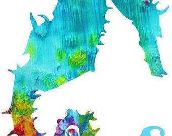 Seahorse Nursery Art  Print Childrens Nursery Wall Art Print Childrens Artwork, Bright Colors (S is for Seahorse Aqua version)