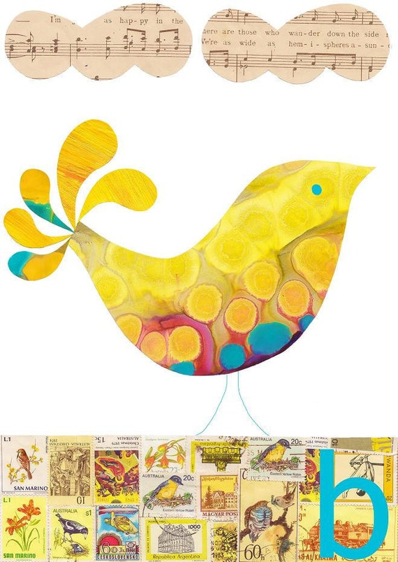 Children Decor B is for Bird (yellow) Print